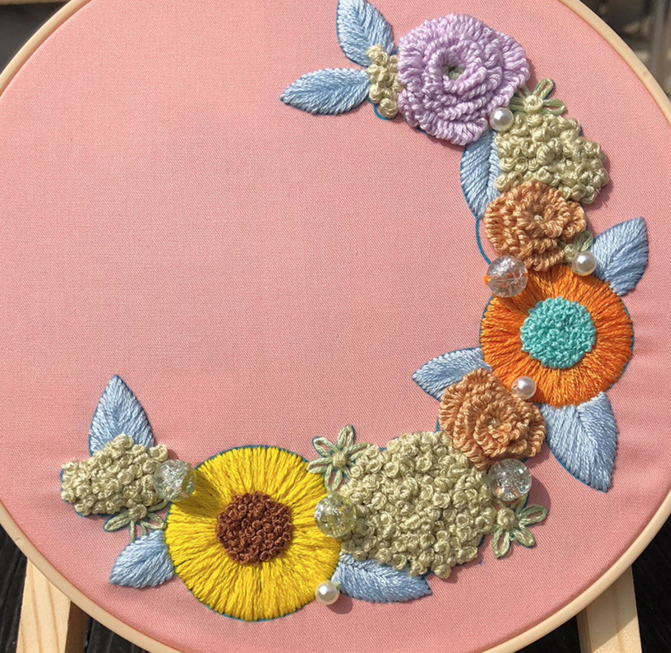 Sunflower Crescent Floral Embroidery