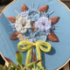 Blue Flower Bouquet on Blue with Yellow Ribbon Embroidery