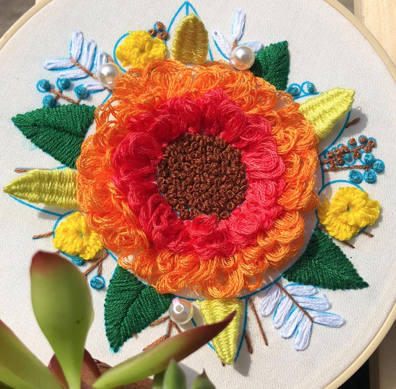 Big Orange Sunflower Embroidery
