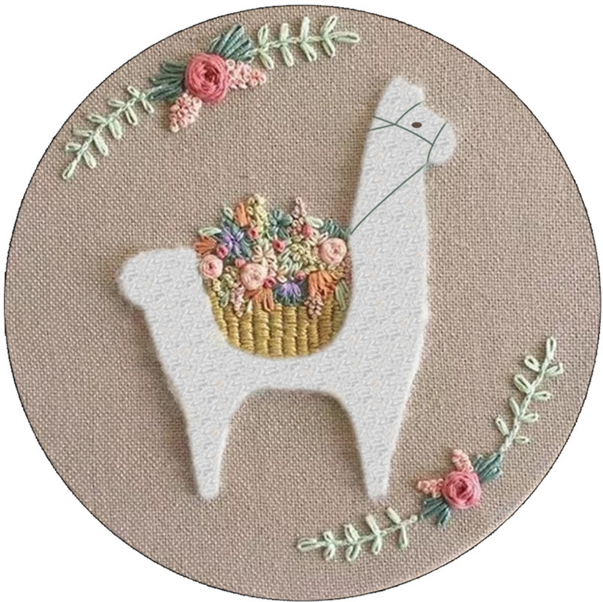 Fuzzy Llama with Blue Basket Embroidery
