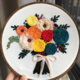 Orange and Blue Flowers Bouquet Embroidery