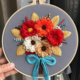 Orange and Red Floral Bouquet on Grey Embroidery