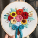 Pink/Orange/Red with Blue Ribbon Bouquet Embroidery
