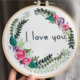 I Love You Pink Flowers Embroidery
