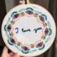 I love you with Grey Flowers Embroidery