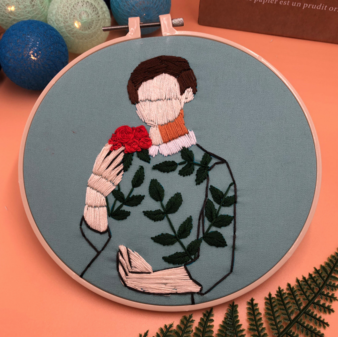 Short Brunette with Leaf Dress on Green Embroidery