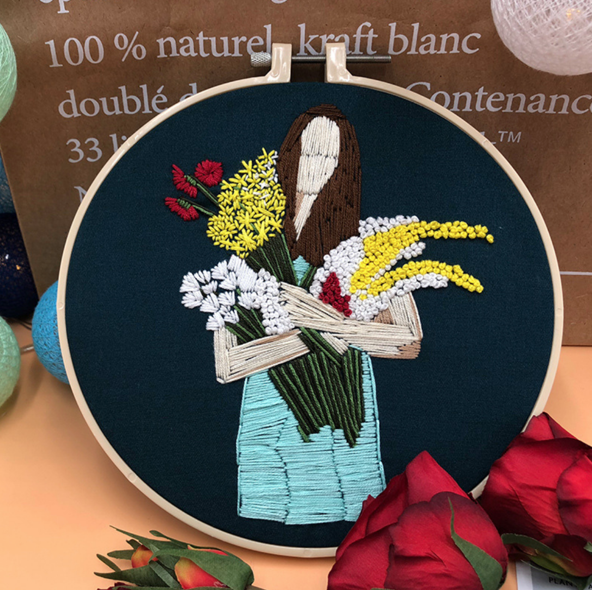 Brunette with Flower Bundles Embroidery