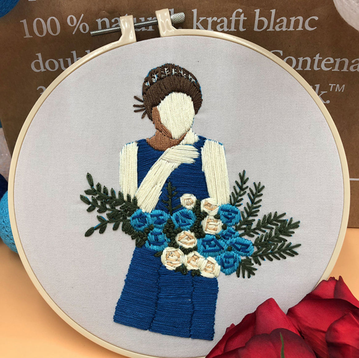 Navy Dress with Blue Roses Embroidery