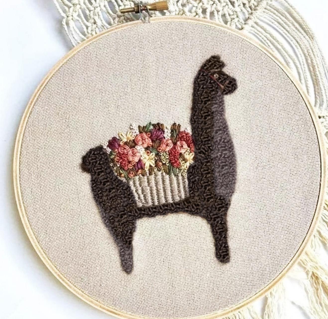 w115 Llama Brown Embroidery