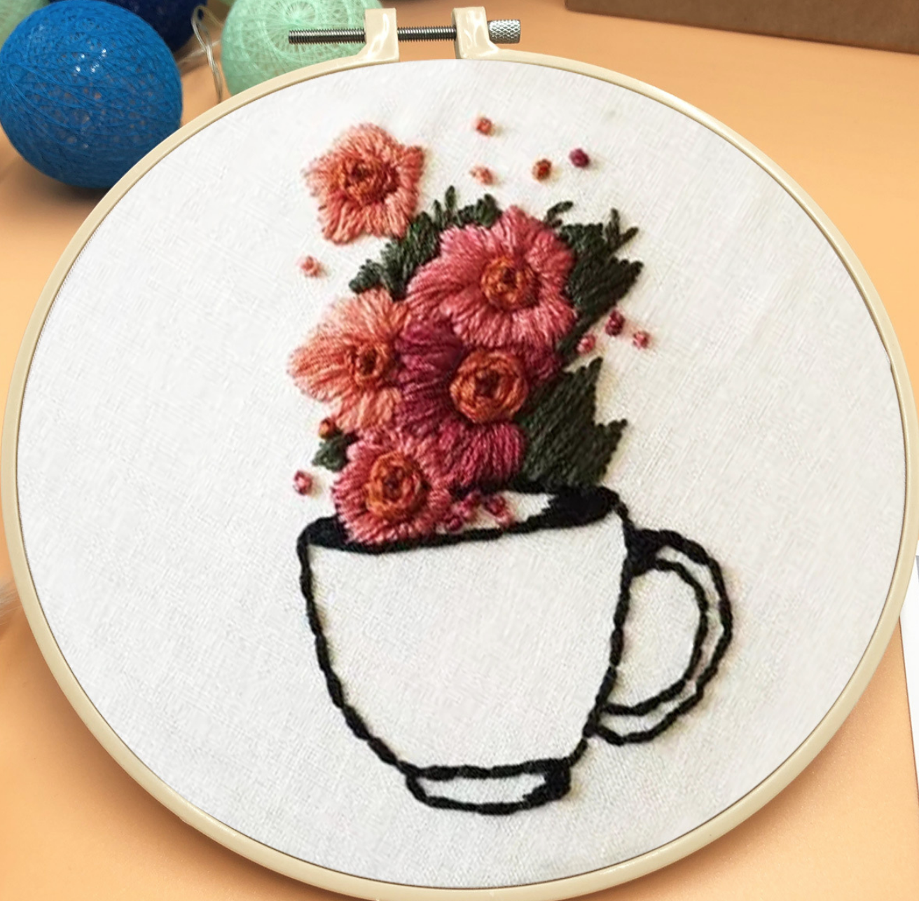 Cup with Flowers Embroidery