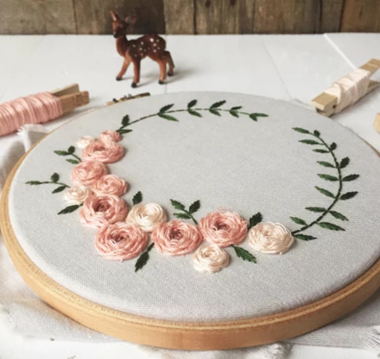 Pink Flower Wreath Embroidery