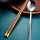 Wood Chopstick and Steel Spoon Set