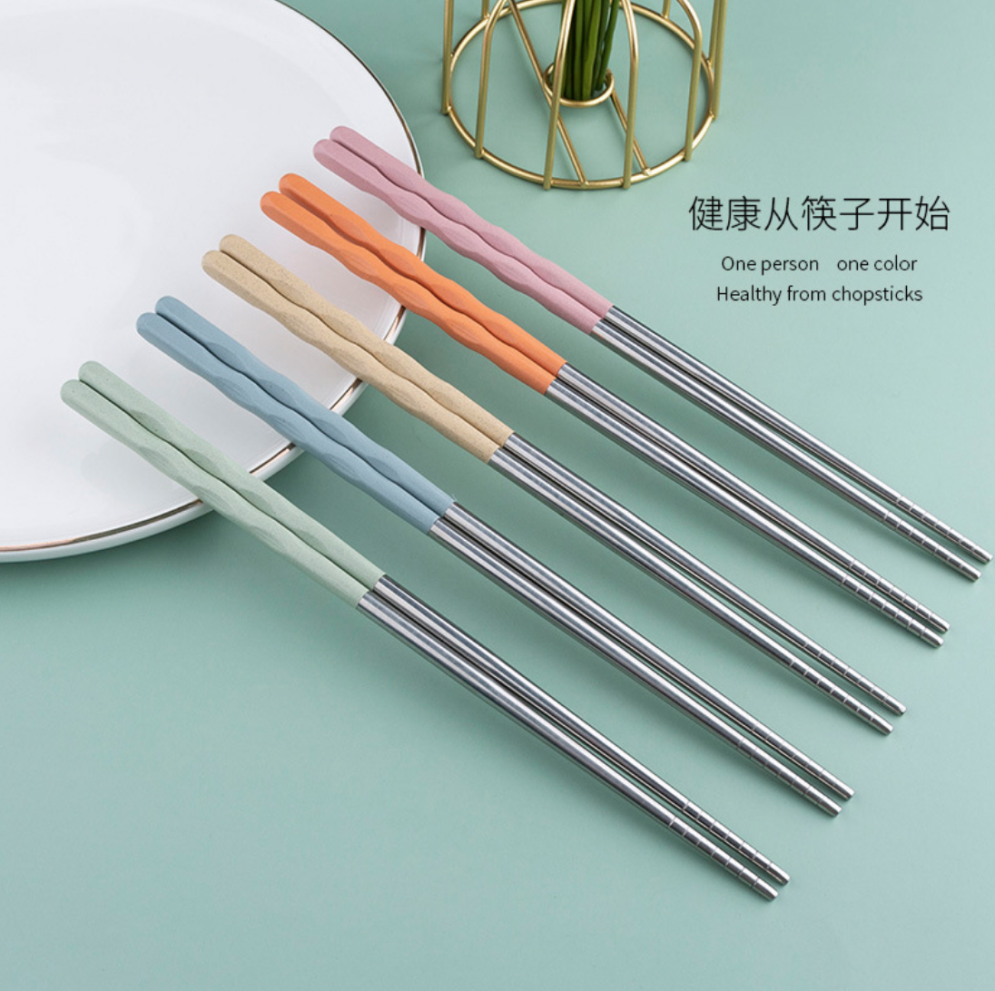 Colorful Wavy Steel 5 Set Chopstick