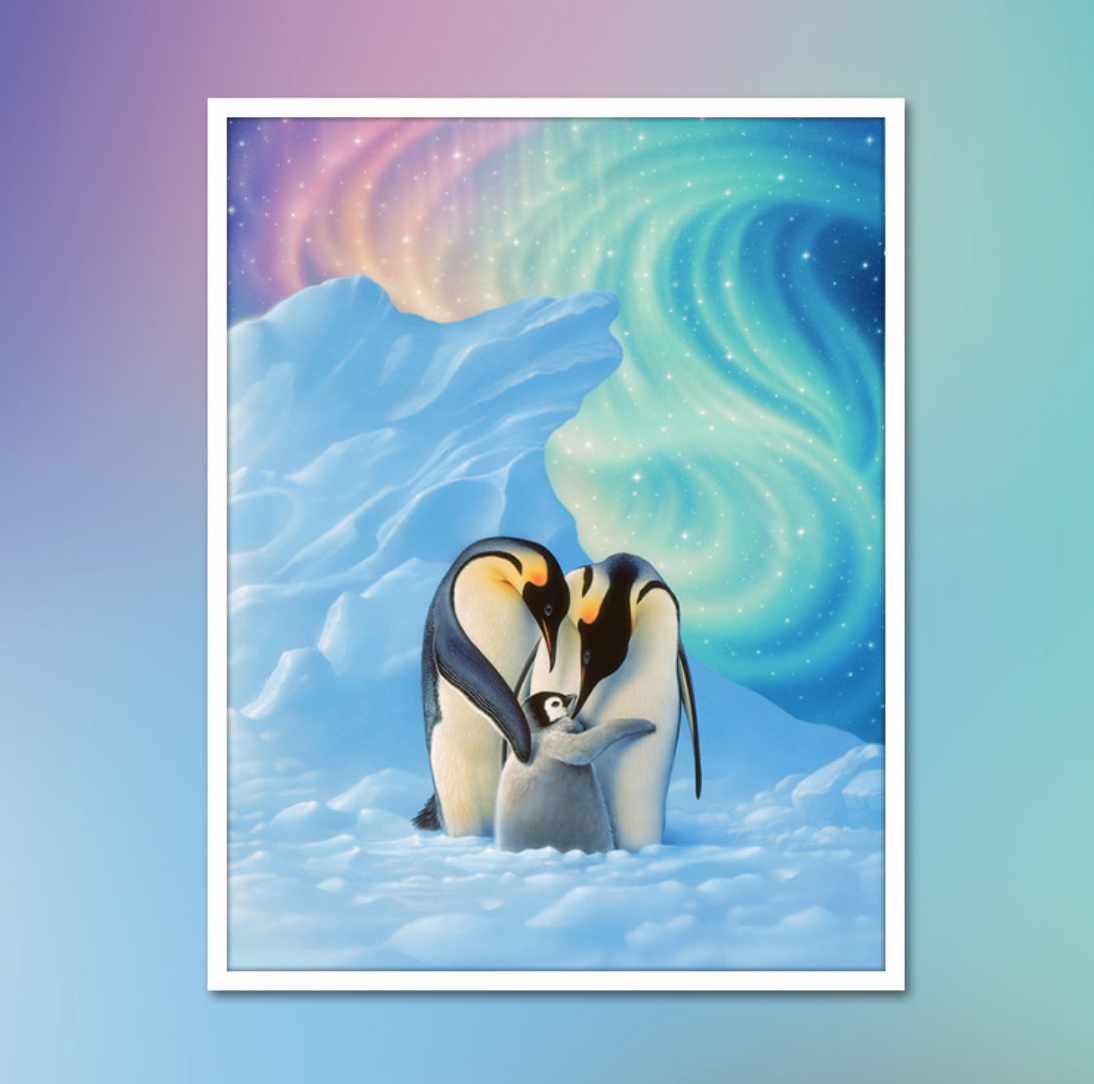 Colorful Penguin Family DIY Dot Painting