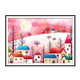 Pink Winter Houses DIY Dot Painting