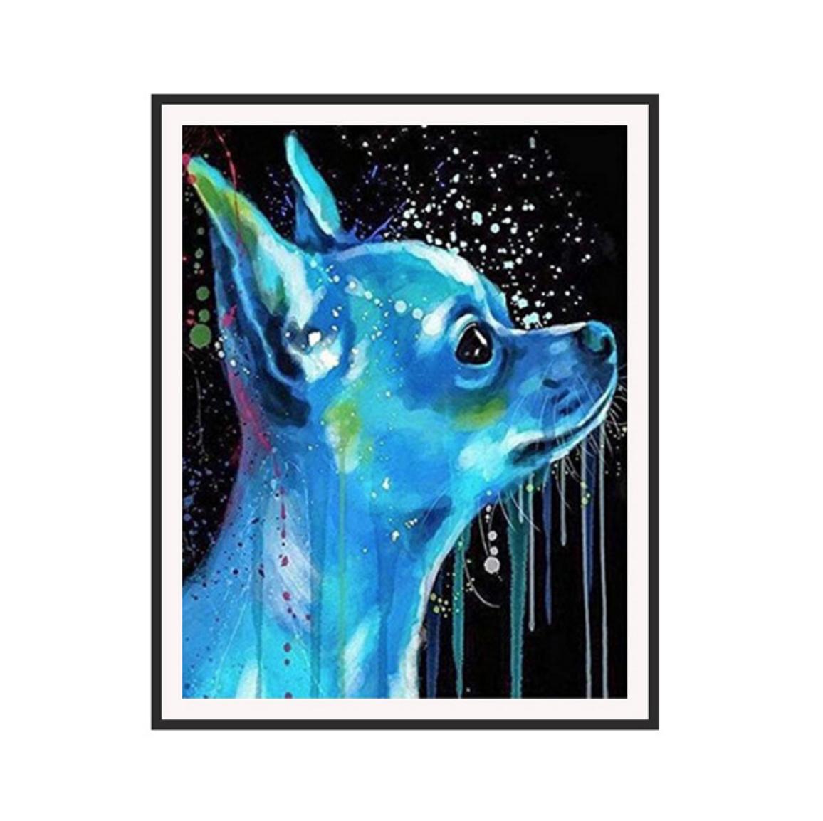 Blue Chuhuahua DIY Dot Painting