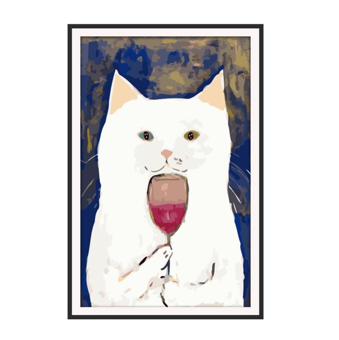 Cat Drinking Wine DIY Dot Painting