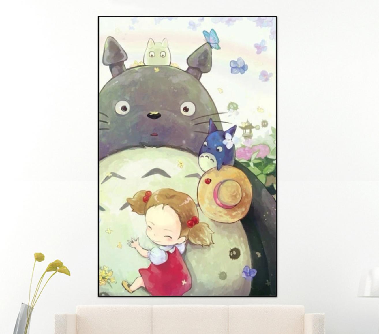 Totoro and Girl DIY Dot Painting