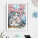 Cherry Blossom Grey Cat Cross Stitch