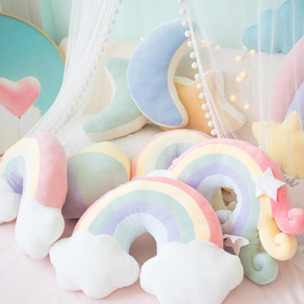 Rainbow Star Plush Pastel Cushion