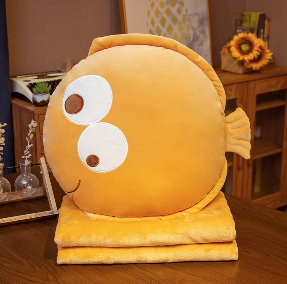 Orange Flounder Plush Blanket