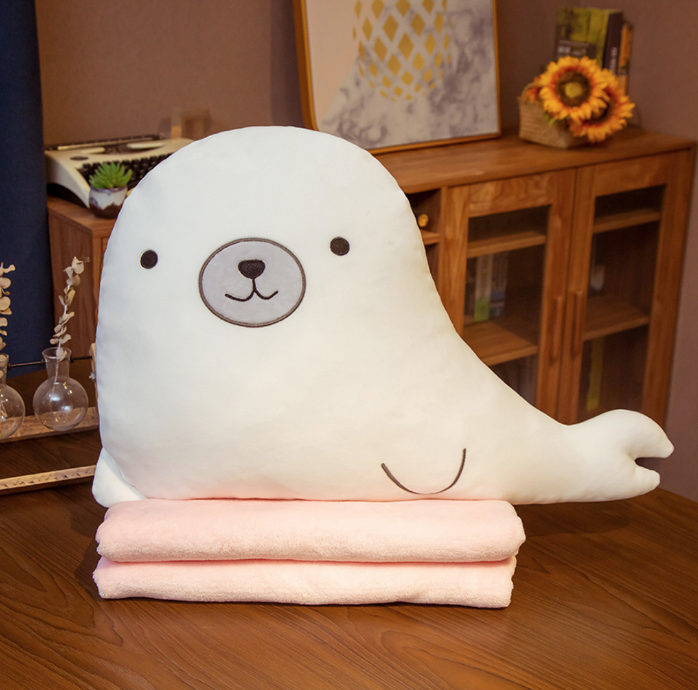White Seal Plush Blanket