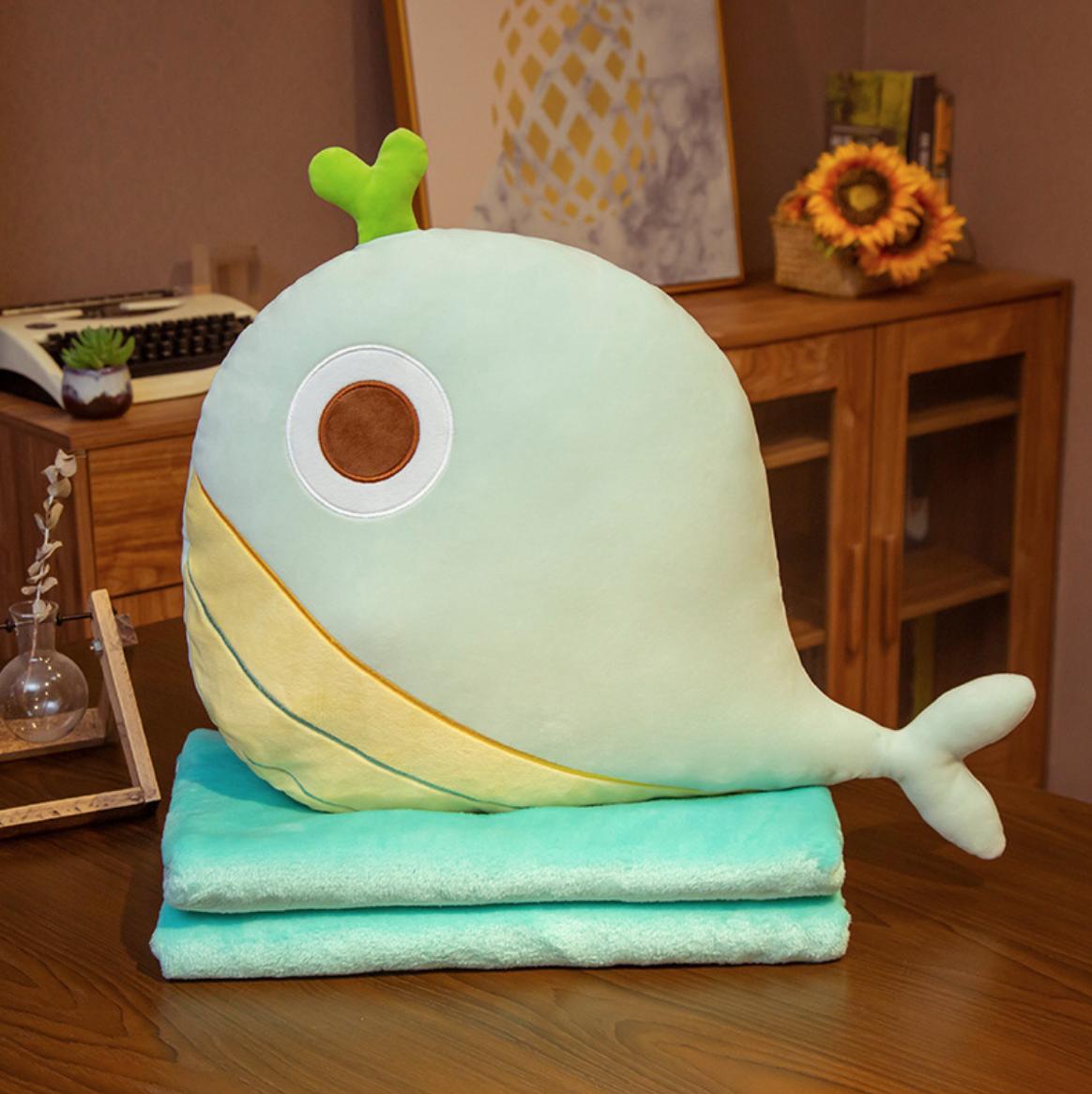 Green Whale Plush Blanket
