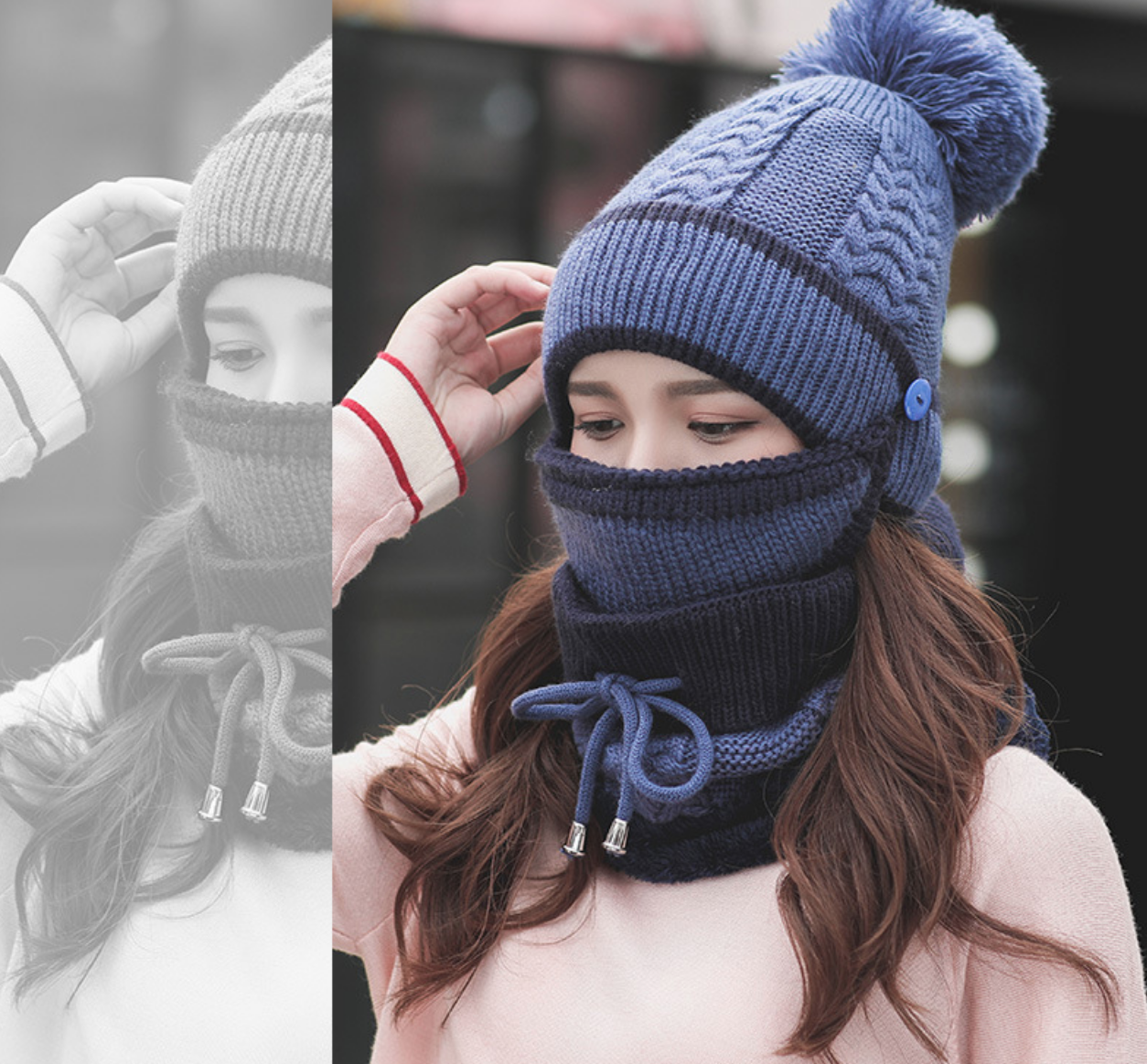Full Coverage Knit Hat with Mask