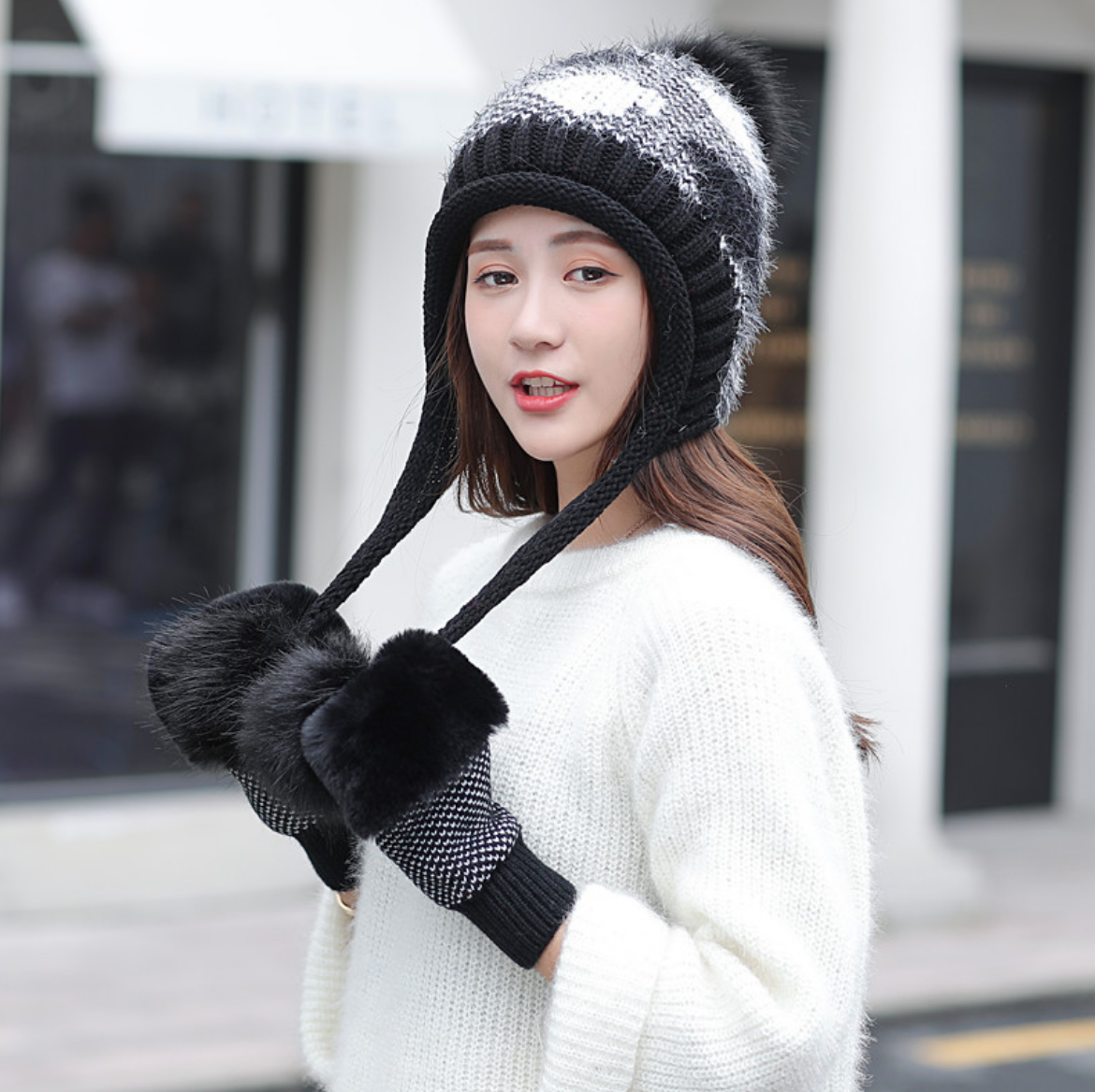 Diamond Knit Hat and Handwarmers