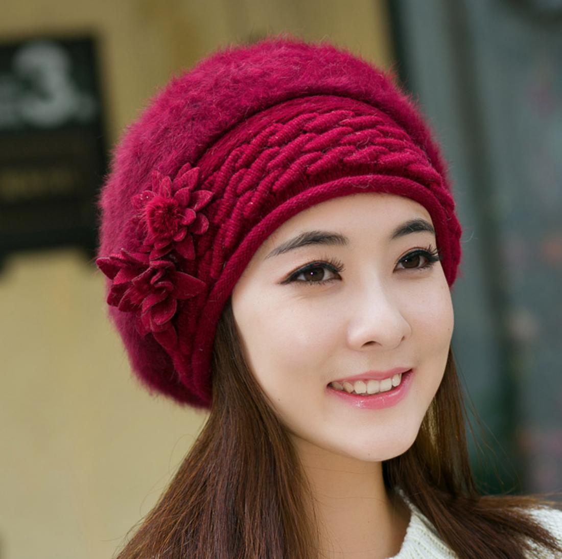 Flower Ornate Knit Hat