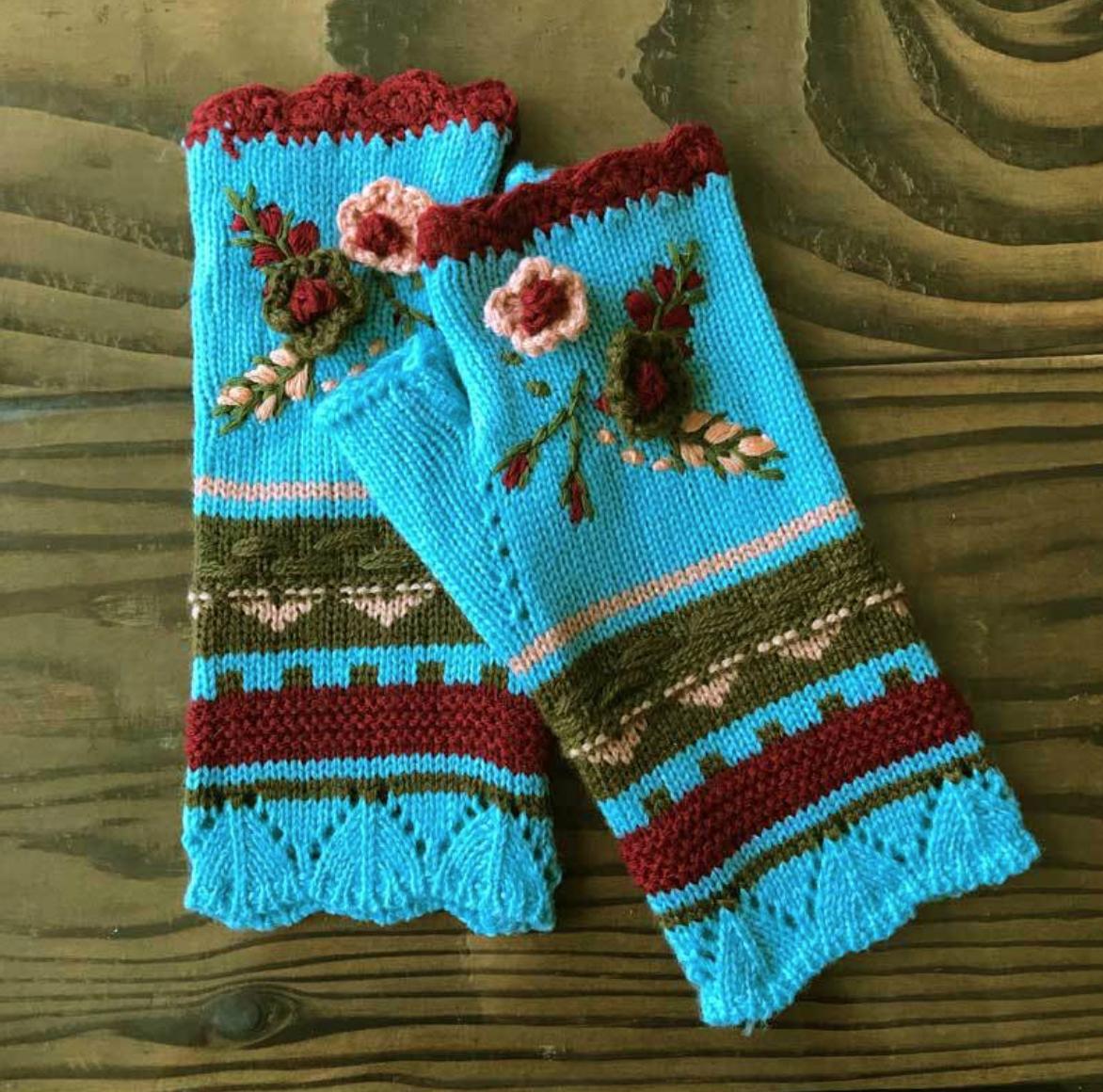 Flower Crocheted Handwarmer