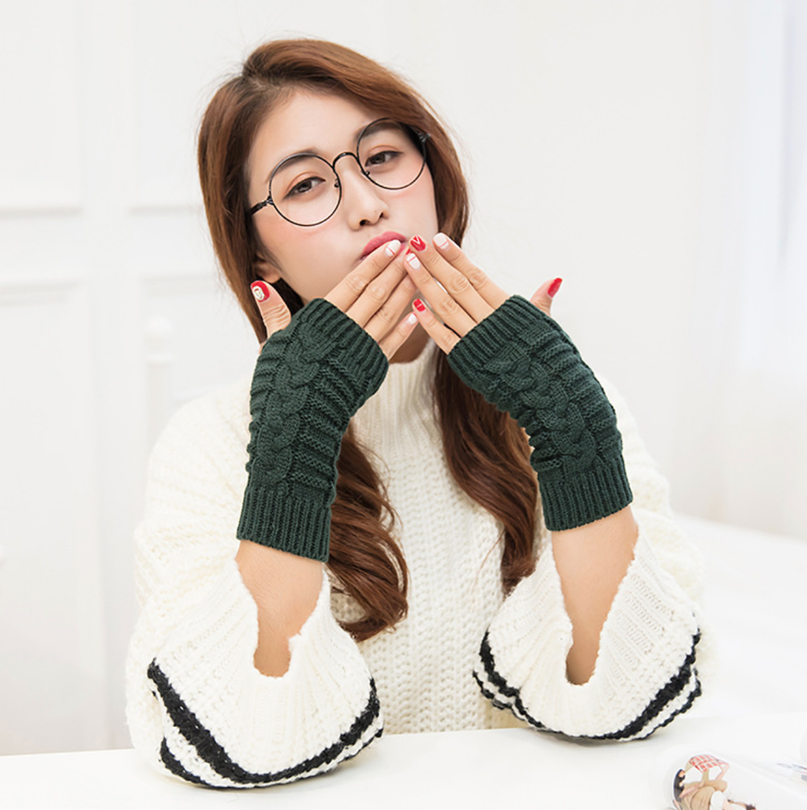 Herringbone Knit Handwarmer