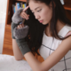 Fur Trimmed Checker Handwarmer