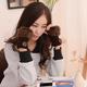 Button Knit Fur Trimmed Handwarmer