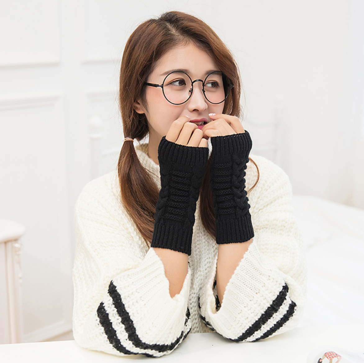 Herringbone Knit Handwarmers