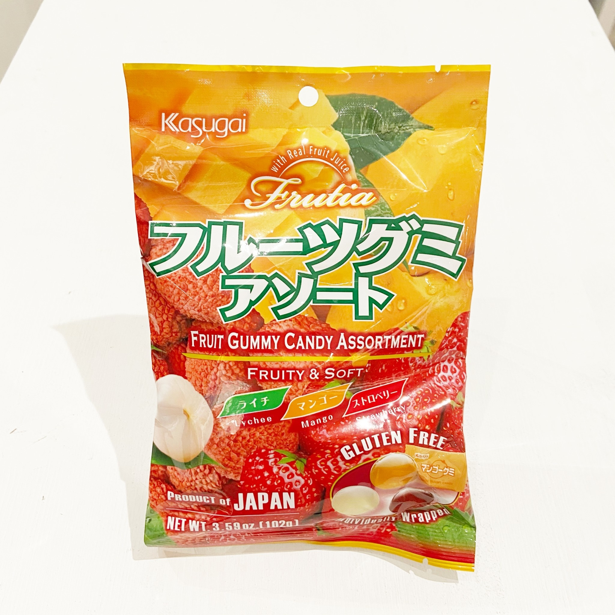 Kasugai Mix Lychee/Mango/Strawberry Gummy Candy 102g