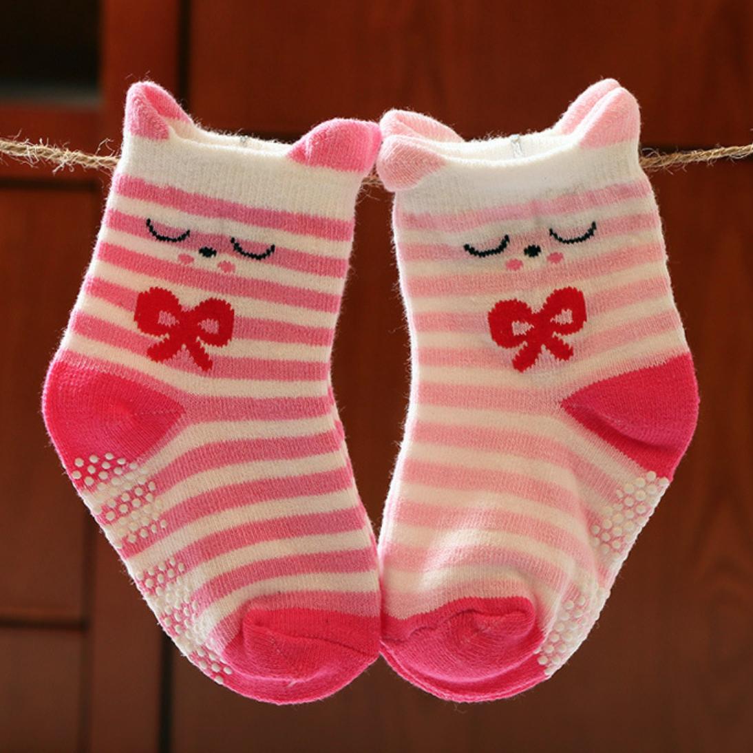 Stripe Face Children Sock - 1-3Y/RedPink
