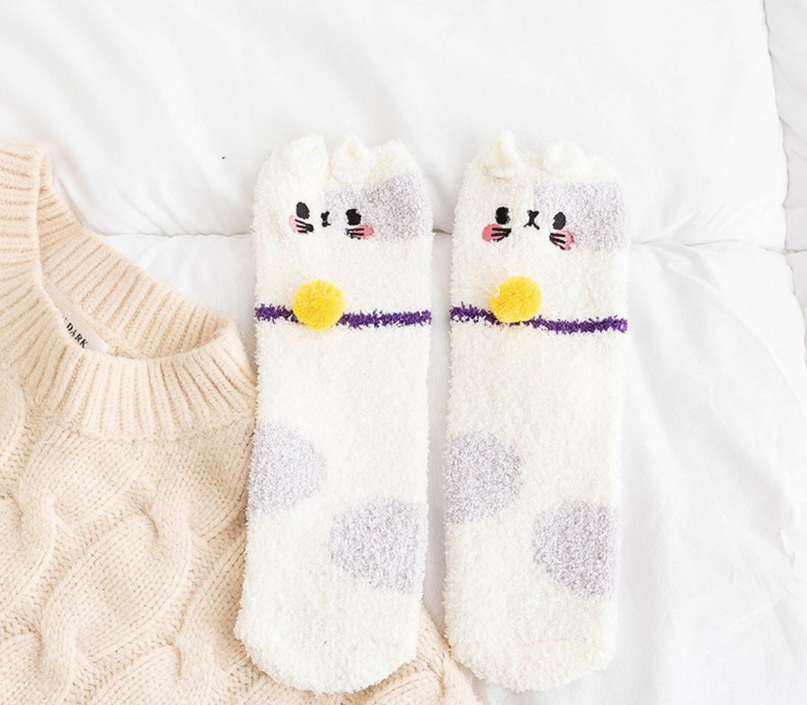 Fuzzy Cat Adult Sock