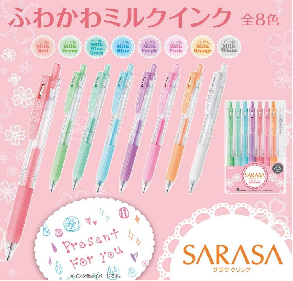 Zebra Sarasa Clip Regular Fine Gel Ink Pen Pastel 8 pk