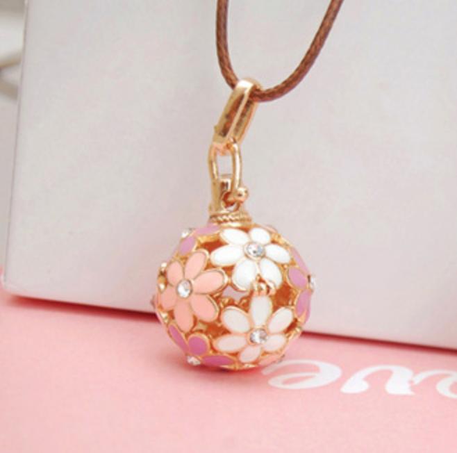 Pink Flower Gold Necklace