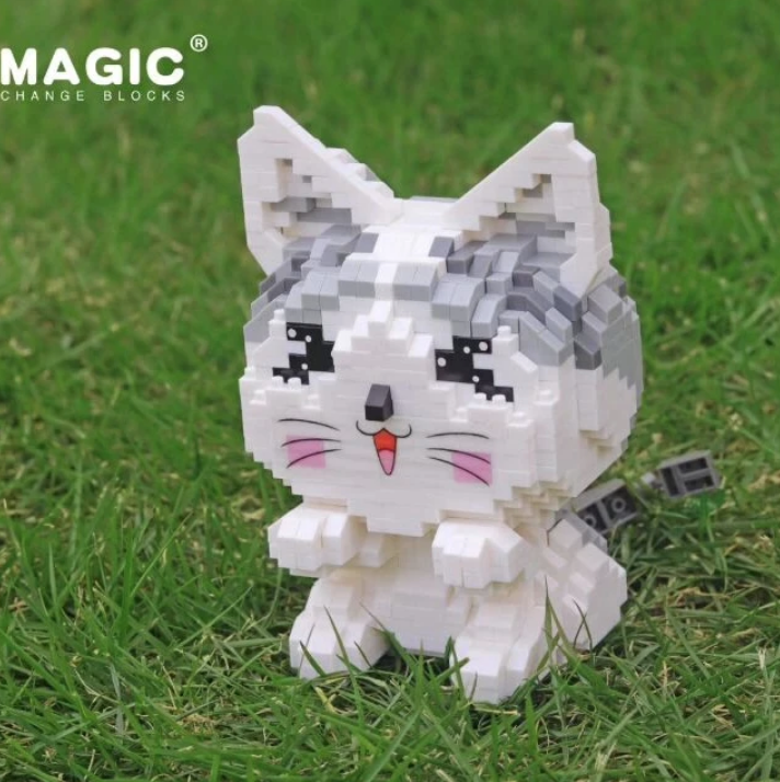 HC 6041 Gray and White Cat Building Block