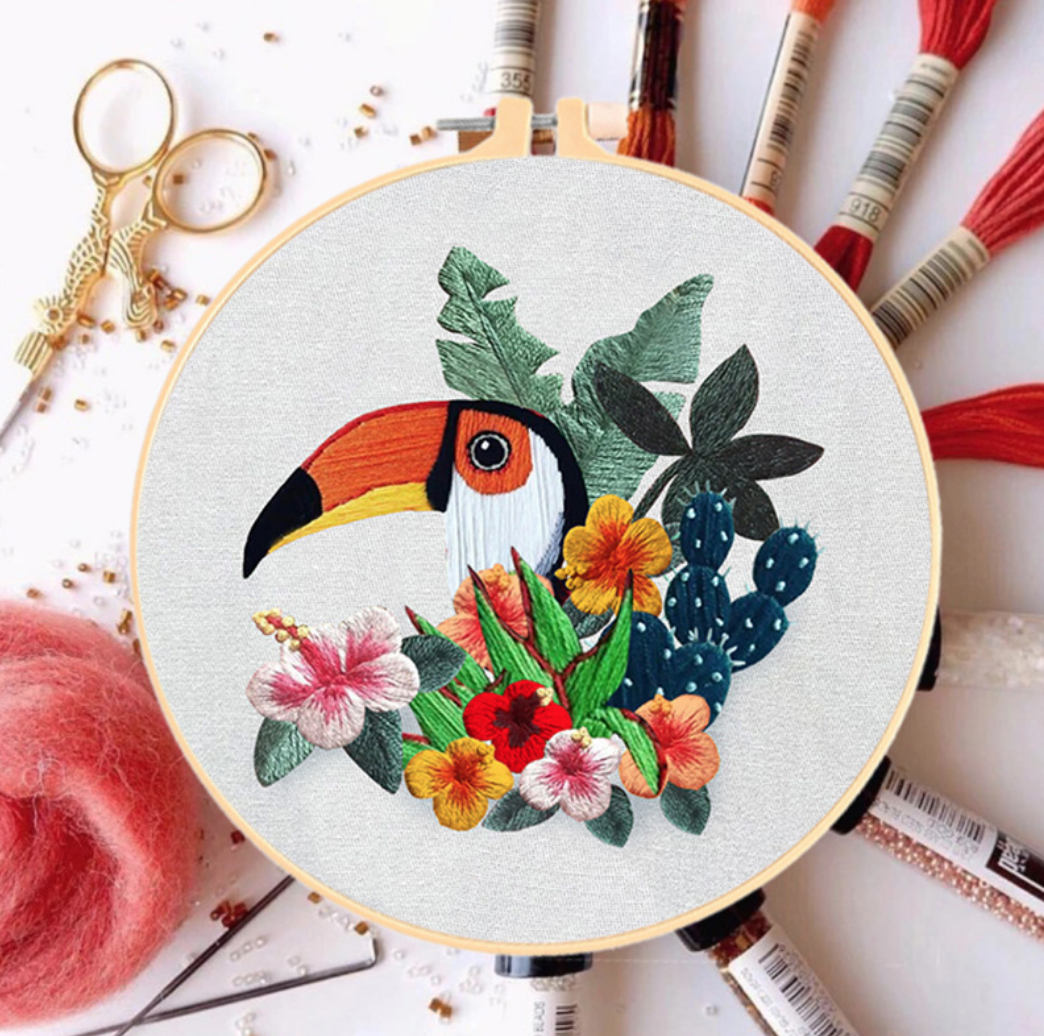 Su Zi Toucan with Pink Flowers 20cm Embroidery