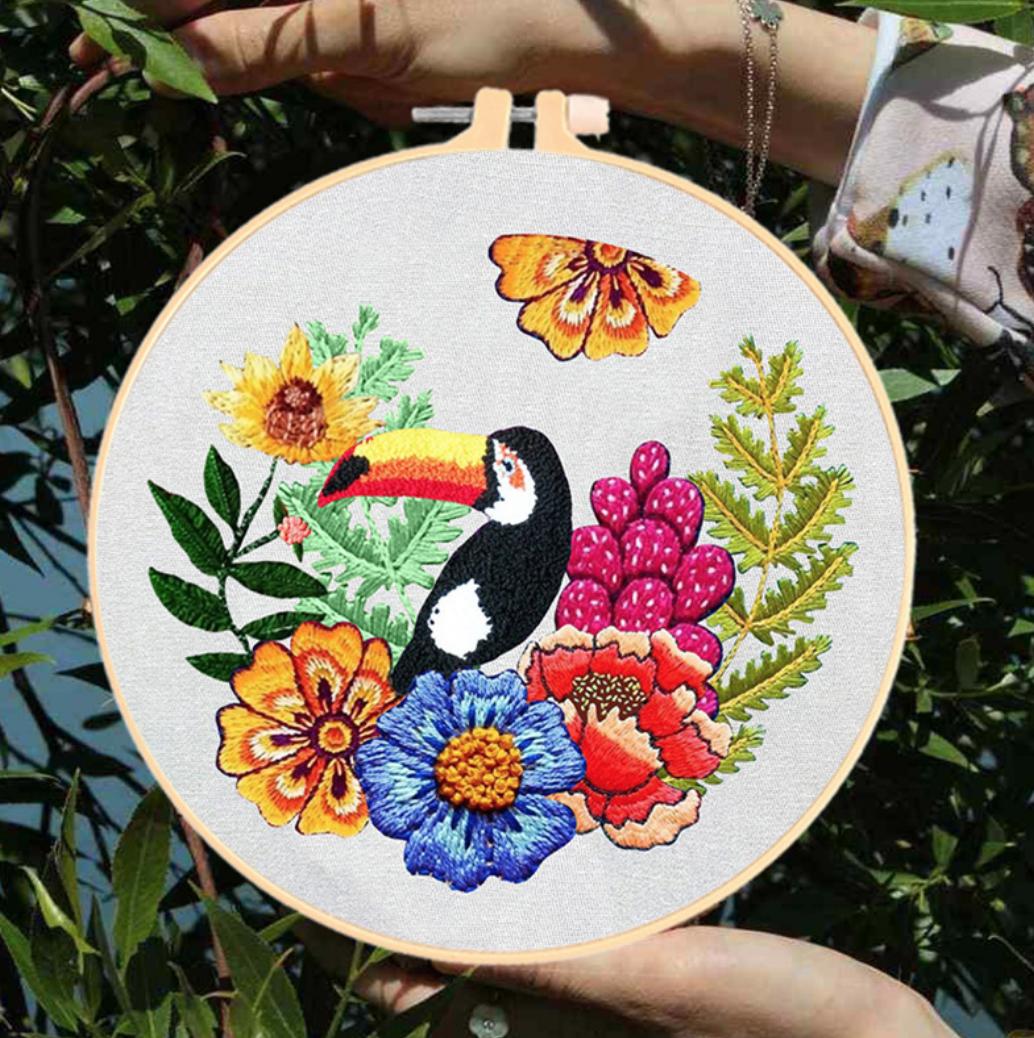 Su Zi Toucan with Orange Flowers 20cm Embroidery