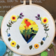 Su Zi Yellow Parrots with Yellow Flowers 20cm Embroidery