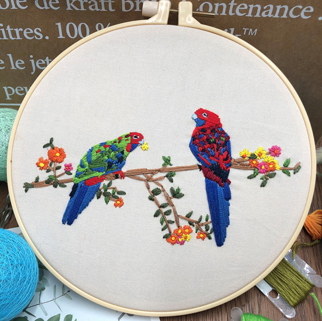 Su Zi Red Parrots with Orange Flowers 20cm Embroidery