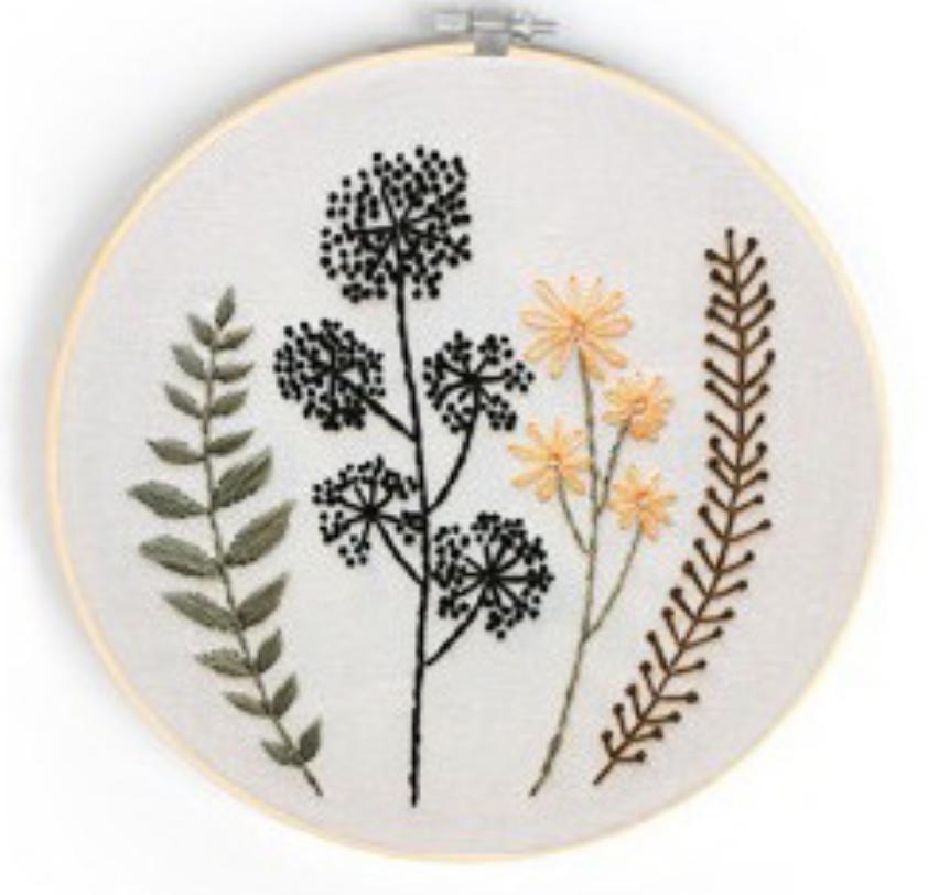 Su Zi Black Dots Dainty Rising Flowers 20cm Embroidery