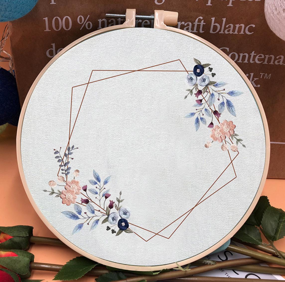 Su Zi Pink/Blue Flower Geometric Wreath 20cm Embroidery