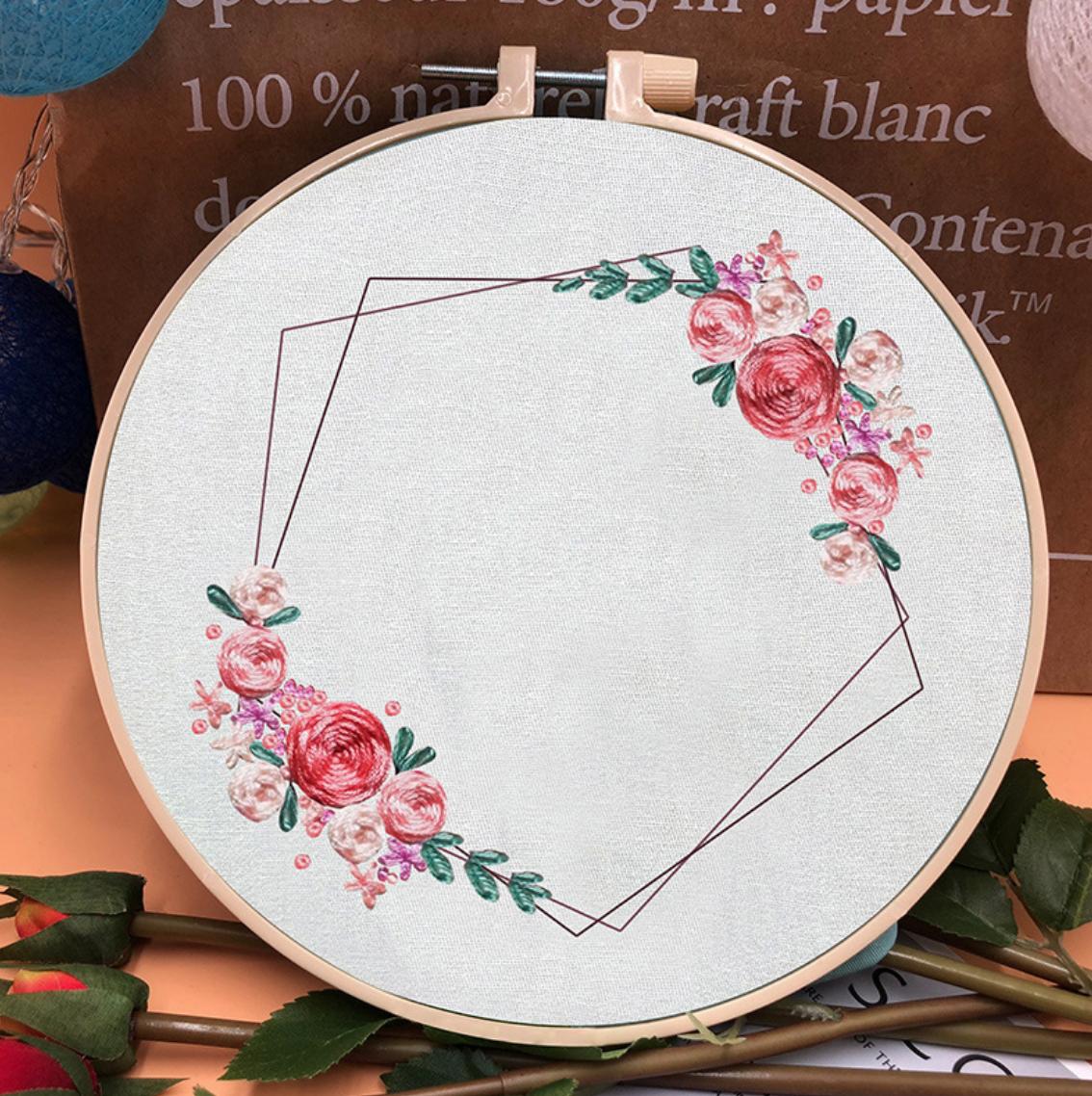 Su Zi Bright Pink Flower Geometric Wreath 20cm Embroidery