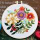 Su Zi White/Purple/Orange Flowers 20cm Embroidery