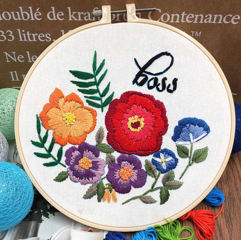 Su Zi Boss Red Flower 20cm Embroidery